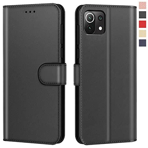 Aurstore Schutzhülle für Xiaomi Mi 11 Lite 4G/5G, Premium-Schutzhülle, PU-Leder, Magnetverschluss, Schwarz