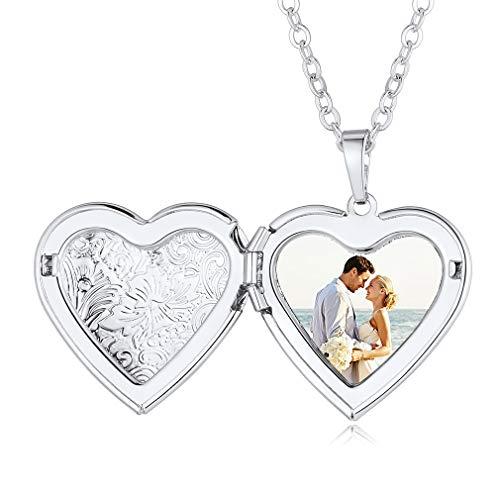 Custom4U Accesorios Modernos de Clavícula Colgante Corazón Locket Personalizado con Foto Commemorativa Collar Moderno Regalo Cumpleaños