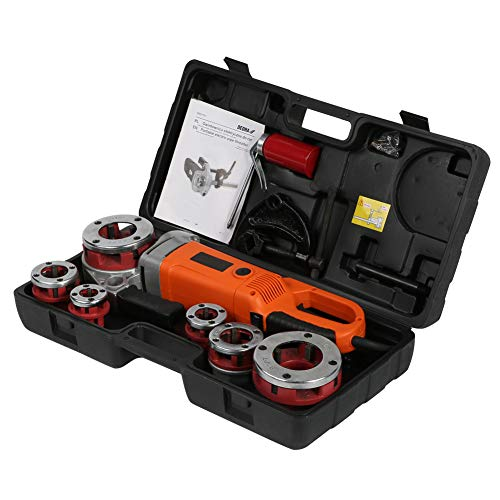 Enhebrador de tubos eléctrico, máquina roscadora portátil portátil de 2300 vatios Máquina roscadora de 6 dados 1/2', 3/4', 1', 1-1/4', 1-1/2'y 2', larga vida útil, ahorra trabajo(Enchufe de la UE)