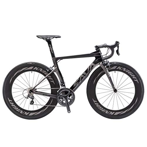SAVADECK Phantom 2.0 700C Bicicleta de Carretera de Fibra de Carbono Shimano Ultegra R8000 22-Velocidad Sistema Michelin 25C Neumáticos Fi'zi: k Cojín (52cm, Gris- 78mm)