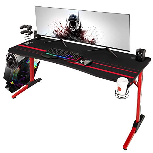 Devoko 55 Inch Gaming Desk Racing Style Computer Desk Free Mouse pad, T-Shaped Professional Gamer Desk with Gaming Handle Rack, Cup Holder and Headphone Hook (Red)