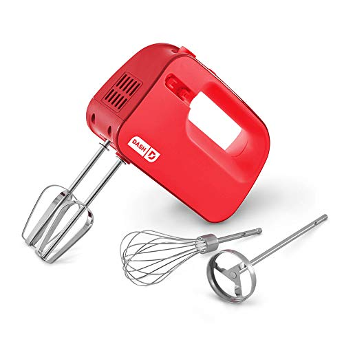 Dash SmartStore™ Deluxe Compact Electric Hand Mixer + Whisk andMilkshakeAttachment for Whipping, Mixing Cookies, Brownies, Cakes, Dough, Batters, Meringues & More, 3 Speed, 150-Watt – Red