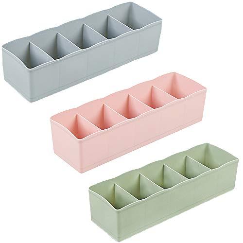 3 Stück Unterwäsche Aufbewahrungsbox, Schubladenunterteilungen Faltbare, Unterwäsche Storage Organizer, ABS-Kunststoff Stapelbar Schubladenorganisatoren für BH, Socke, Krawatte, Schal (3 Farben)