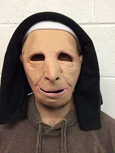 De Rubber Plantation TM 619219303842 Nun Masker Latex Halloween Fancy Jurk, Unisex-Volwassene, One Size