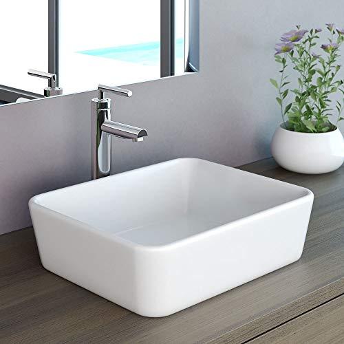 NEG Waschbecken Uno32A (eckig) Aufsatz-Waschschale/Waschtisch (weiß) mit schmalem Rand und Nano-Beschichtung