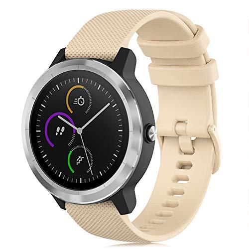 Onedream Armband Kompatibel mit Garmin Vivoactive 3 Vivomove, Sport Watch Straps Ersatz Armband Silikonarmband Uhrenarmbänder Zubehör 20mm für Damen und Herren, Beige (Keine Uhr)