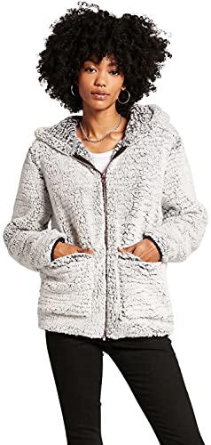 Volcom Women's Lived in Lounge Phuz Up Sherpa Zip Fleece Jacket, Light Grey, X-Small
