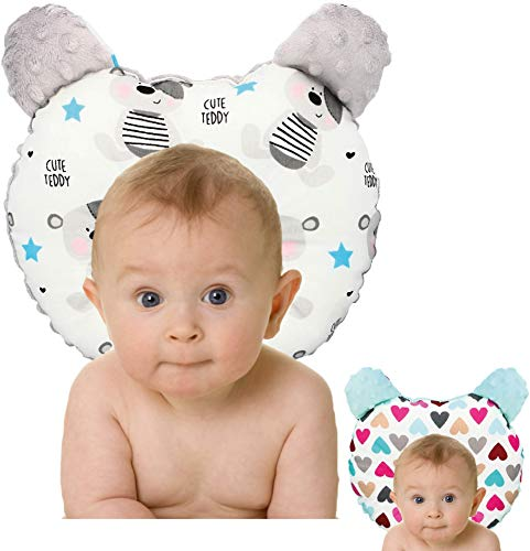 RS-Italy - Cojín para bebé plagiocefalia antireflujo antiasfixia transpirable e hipoalergénico, utilizable 0-24 meses, cojín de prevención de cabeza plana (teddy)