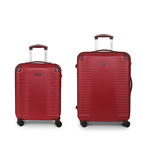 Gabol - Balance | Juego de Maletas de Viaje Rigidas de Color Rojo con Trolley de Cabina y Trolley Mediano