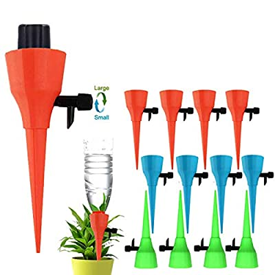 OZMI Plant Self Watering Spikes Devices, 12 Pack Automatic Irrigation Equipment Plant Waterer with Slow Release Control Valve, Adjustable Water Volume Drip System for Home and Vacation Plant Watering from OZMI