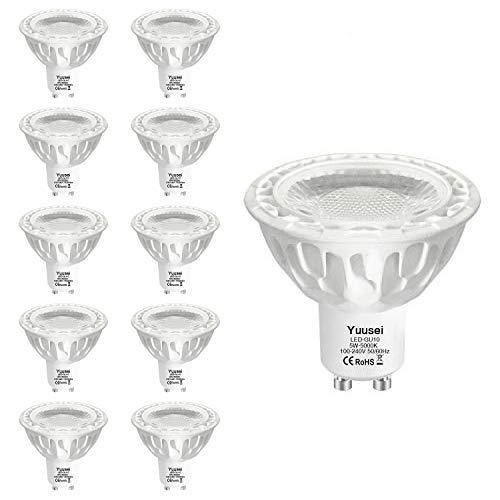 Yuusei Bombillas LED GU10 5W, 5000K 500LM Blanco Frío LED Spot Luz Lámpara Foco, Equivalente 50W Luz Halógena, Ángulo Haz 36º, No Regulable, 10 Piezas