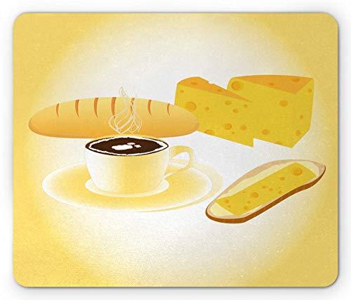 KKs-Shop Mauspad gelb Butter Frühstücksszene Kaffee und Käse Mauspad aus rutschfestem Gummi rechteckig