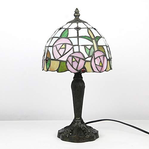 Tiffany estilo de tabla de la lámpara de pie 8Inch ancha ligera de la decoración de la vendimia de la antigüedad de la flor del vitral de Rose rosada por la sala de estar Familia-