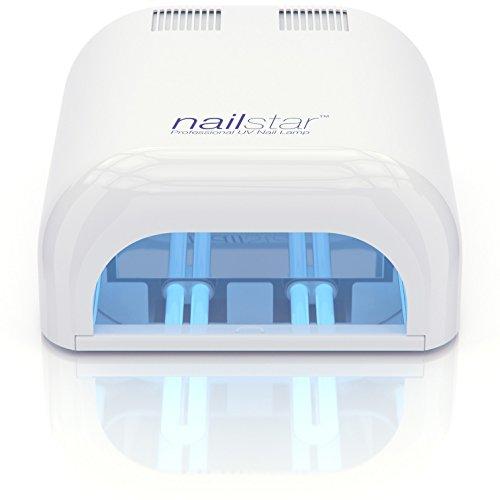 NailStar Lampe Sèche-ongles à UV Professionnelle 36 Watt pour Manucure et Pédicure, Laque, Shellac, Gel et Vernis - Minuterie de 120 et 180 secondes - 4 Ampoules UV 9W incluses