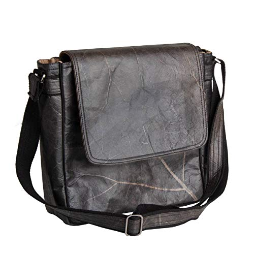 WOLA Damen Herren Handtasche   Messenger Tasche SELVA vegan   Kuriertasche Crossbody Bag schwarz