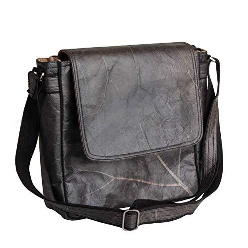 WOLA Damen Herren Handtasche | Messenger Tasche SELVA vegan | Kuriertasche Crossbody Bag schwarz