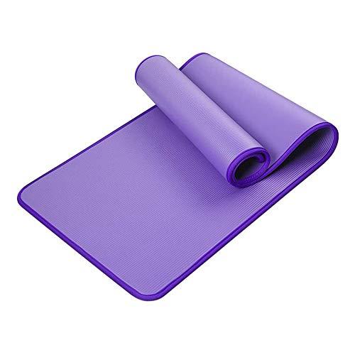 WEFH Estera de Yoga de 10 mm con Bordes, Antideslizante, Engrosamiento, Fitness, Sudor, Estera cómoda, púrpura