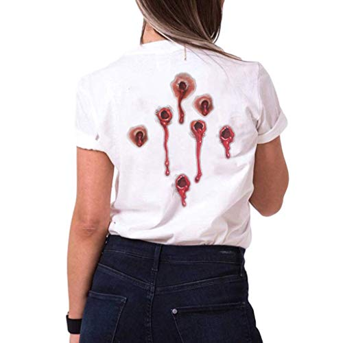 Womens Summer Tops Round Neck Black & White T-Shirt, Short Sleeve, Gunshot Wound Simulation Printed, Womens Tops and Blouses, Casual T-Shirts, 2020 New (White, XL)