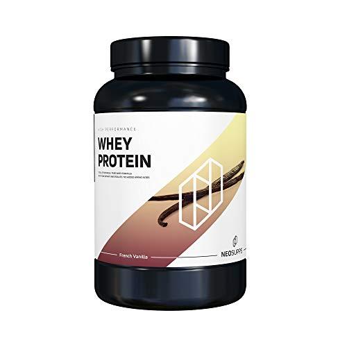 Premium Whey Protein für Muskelaufbau & Abnehmen in leckeren Geschmäckern | Low Carb Eiweiß-Shake, Eiweiß-Pulver mit Aminosäuren (BCAA) | 1kg NeoSupps Protein Pulver – Vanille/French Vanilla
