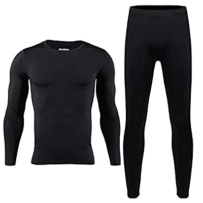 HEROBIKER Men Cotton Thermal Underwear Set Motorcycle Skiing Winter Warm Base Layers Tight Long Johns Tops & Pants Set Black L