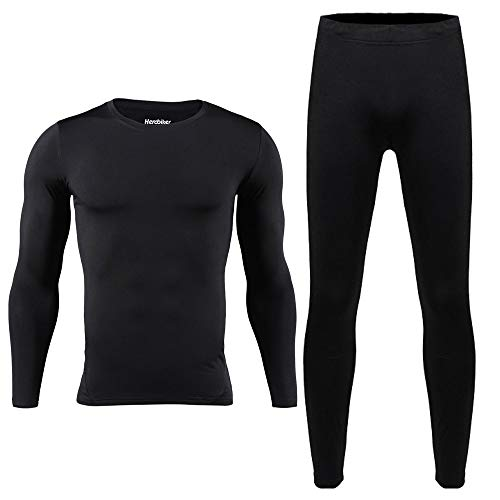 HEROBIKER Men Thermal Underwear Set Winer Skiing Warm Top & Bottom Thermal Long Johns (XXL) Black