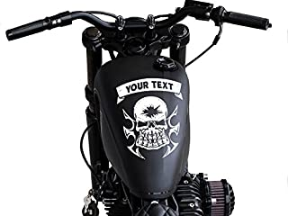 FGD Motorcycle Skull with Custom Text Tank Top Gas Tank Decal. 10