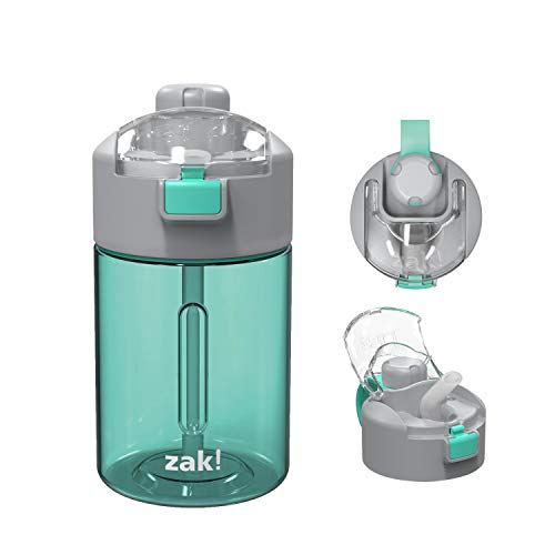 Zak Designs Genesis Durable Tritan Water Bottle with 2-In-1 Lid and Portable Carry Strap, Leak-Proof Design Is Perfect for Outdoor Sports (12oz, Tropic, Tritan, BPA-Free)