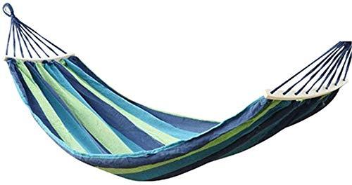 Camping hangmat Outdoor tuin camping leisure hangmat hangstoel enkel dubbel massief houten dikke canvas stok swing draagbare vouwen (Color : Blue green strip, Size : 200 * 100cm)