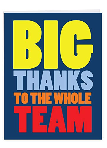NobleWorks - Jumbo Thank You Greeting Card (8.5 x 11 Inch) - Group Gratitude Card for Employees, Sports Teams - To The Whole Team J9150TYG