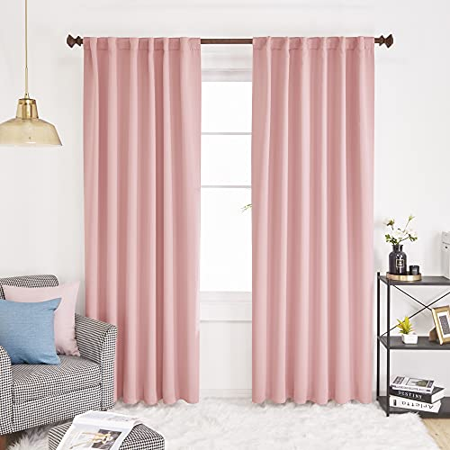 Deconovo Solid Back Tab and Rod Pocket Curtains - Thermal Insulated Blackout Window Curtains for Living Room, 52x84 Inch, Coral Pink, 2 Panels