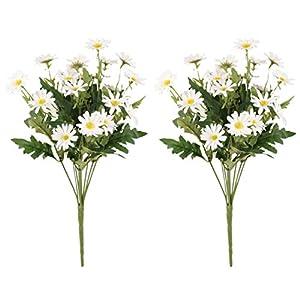 Silk Flower Arrangements Gumolutin 2 PCS Artificial Silk Daisy Flower Bouquet for Home Table Centerpieces Arrangement Decoration
