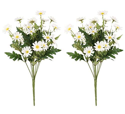 Gumolutin 2 PCS Artificial Silk Daisy Flower Bouquet for Home Table Centerpieces Arrangement Decoration, White