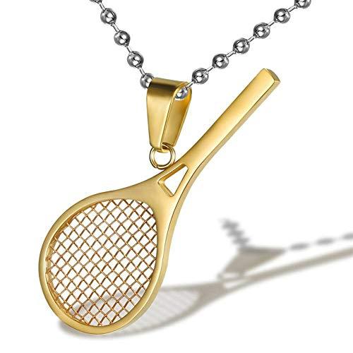 AILUOR Raqueta de Tenis de Acero Inoxidable con Forma de Collar Colgante, Raqueta y Pelota aplastantes Colgante de Tenis con Encanto Deportivo Simple (Oro)