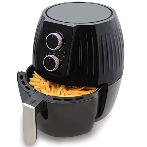 Aurkalri 4.8Qt/4.5L Air Fryer With Timer And Temperature Control, Nonstick Fry Basket with Stainless Steel Finish, Recipe Guide + Auto Shut Off Feature,1300-Watt Electric Hot XL Air Fryers ,Family sharing outfit Oven Oil Free Nonstick Cooker (Black)