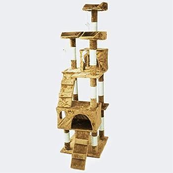 Arbre à Chat en Beige 170 cm avec Plate-Formes Niches Échelles Griffoir Grattoir Escalade Toboggan
