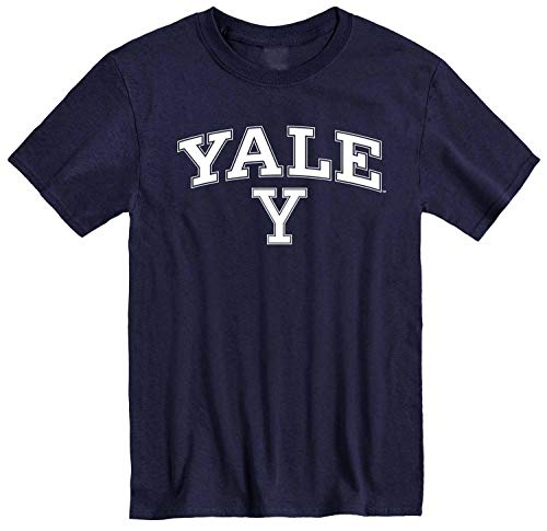 Campus Colors NCAA Adult Arch & Logo Soft Style Gameday T-Shirt (Yale Bulldogs - Navy, Large)