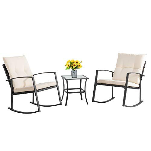 Walsunny 3 Pieces Patio Set Outdoor Wicker Patio Furniture Sets Modern Rocking Bistro Set Rattan Chair Conversation Sets with Coffee Table (Black)…