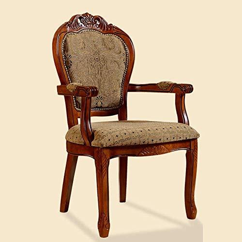 ZGQA-GQA Cena de la silla tallada silla del ocio Silla de madera de estilo europeo Silla Sillón Negociación Fácil de montar 2 piezas for sillas Inicio cocina comedor (Color: Marrón, Tamaño: 106x50x52c