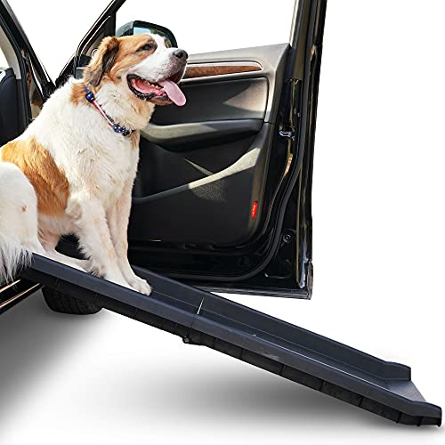 Alpha Paw Car Ramp for Large and Small Dogs, for SUVs, Cars, and Trucks, Compact, Foldable, and Lightweight, Portable Outdoor Pet Ramp for up to 200...