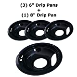 "Kitchen Basics 101 Black Porcelain Style A 1 Large 8"" and 3 Small 6"" Replacement for Whirlpool Electrolux Frigidaire"