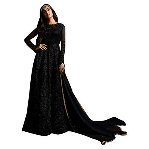 SHRI BALAJI 8709 Abito Indian Nero anarkali netto ricamo pesante hijab cocktail da sposa donne etniche festivo cucito semi bollywood etnico usura partito cermonia donne muslim