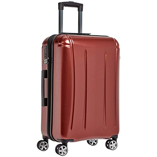 Amazon Basics - Maleta rígida «hardside» Oxford, con ruedas - 78 cm, Rojo