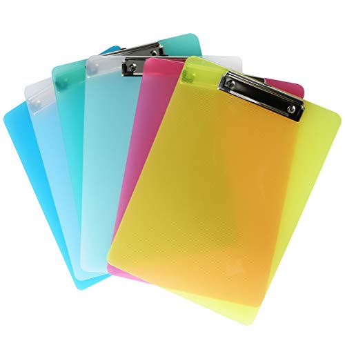 YOTINO 6 Pack Plastic Clipboards with Metal Clip, Transparent Color A4 Letter Size Low Profile Clip for Classrooms, Office Supplies, Restaurants, Doctor Offices(6 Colors)