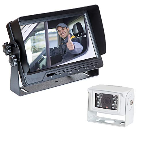 "VSG24 24112 – 7"" Transporter Rückfahrvideosystem, Kamera Set inkl. 20m Kabel, Nachtsicht, 120°Winkel, 12-24 V, IP67 – Weiß"