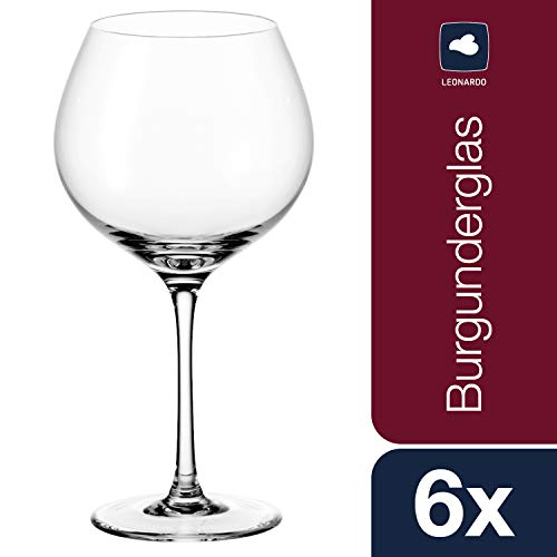 Leonardo Ciao+ Rotwein-Gläser, Rotwein-Kelch mit gezogenem Stiel, spülmaschinenfeste Wein-Gläser, 6er Set, 630 ml, 061450