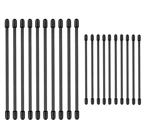 Dproptel 20 Pack Reusable Rubber Gear Twist Ties, Silicone Cable Management Tie for Household Office Travel Outdoors Garage Garden and Any Occasion (Black, 6inch & 3inch)