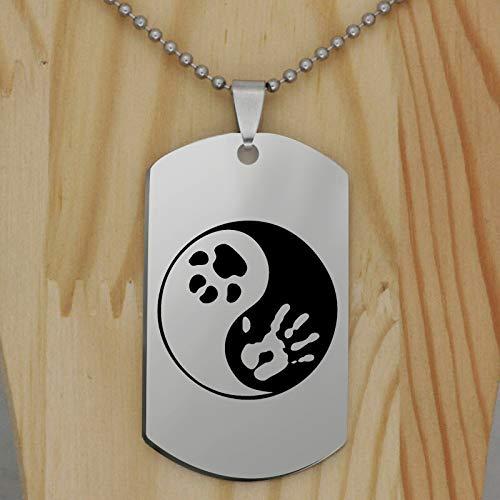 CLEARNICE Acero Inoxidable Yin Yang Paw Impresión Colgante Collar Moda Animal Animal Gato Perro...