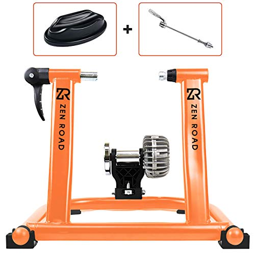 ZenRoad Bike Trainer Stand - Heavy-Duty Stationary Bike Stand with Fluid Resistance - Smart Indoor Bike Trainer Stand for Men and Women - Silent Bicycle Stand for Cycling Workouts Indoors