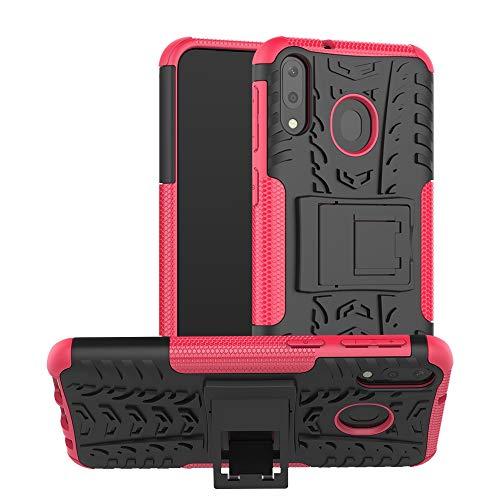 Dmtrab Caso Samsung Galaxy M20, Textura de neumáticos TPU + PC Funda Protectora a Prueba de Golpes con Titular (Negro) Cajas de teléfono móvil (Color : Pink)