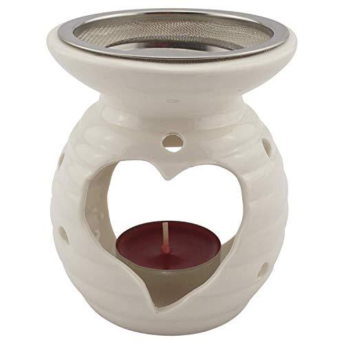 Räucherstövchen mit Metallsieb und Metallscheibe - weiße Keramik – Design Herz – H 10 cm